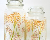 Autumn Trees Canisters, Vintage 1970s Anchor Hocking Decorative Storage