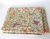 Floral Butterfly Fabric, Vintage 1960s Bright Pastel Spring Design