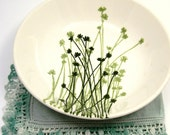 Green Floral Bowl, Vintage 1950s Blooming Clover Serving Dish
