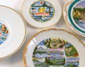 Pacific Northwest Souvenirs, Vintage 1950s - 1960s Oregon & Washington Decorative Plates