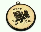 Little Black Cat, Vintage 1960s Cross Stitch in Black Hoop