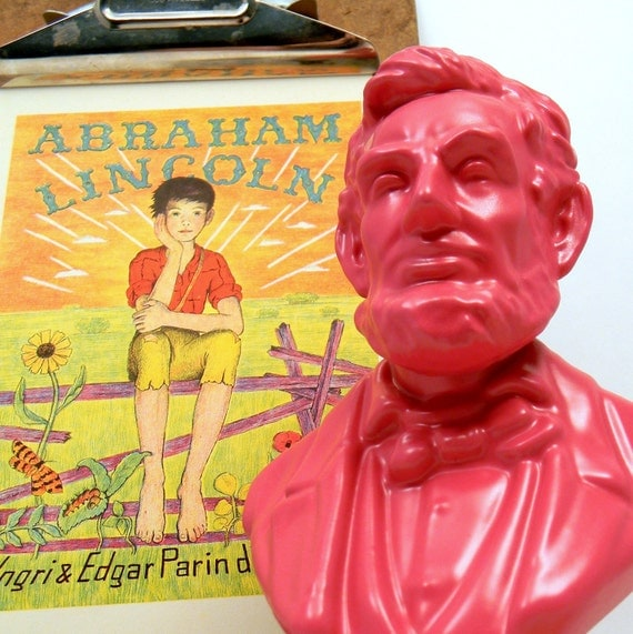 Abraham Lincoln Bust, Upcycled Vintage 1970s Avon Figural Cologne Bottle