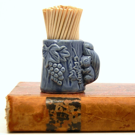Squirrel toothpick holder vintage 1950s blue by - Toothpick holder for purse ...