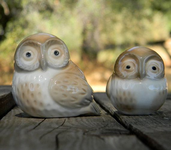 Otagiri Owl Figurines, Vintage 1960s Pair of Porcelain Birds