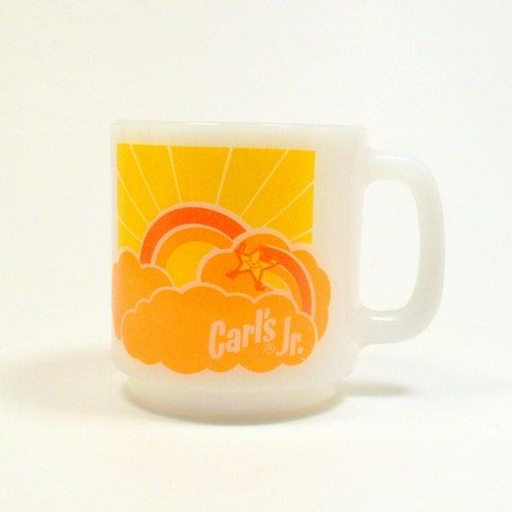 Carl's Jr Mug, Vintage 1970s Glasbake Milk Glass Advertising Coffee Cup
