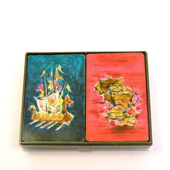 Viking Playing Cards, Vintage 1960s Hallmark Decks in Tray