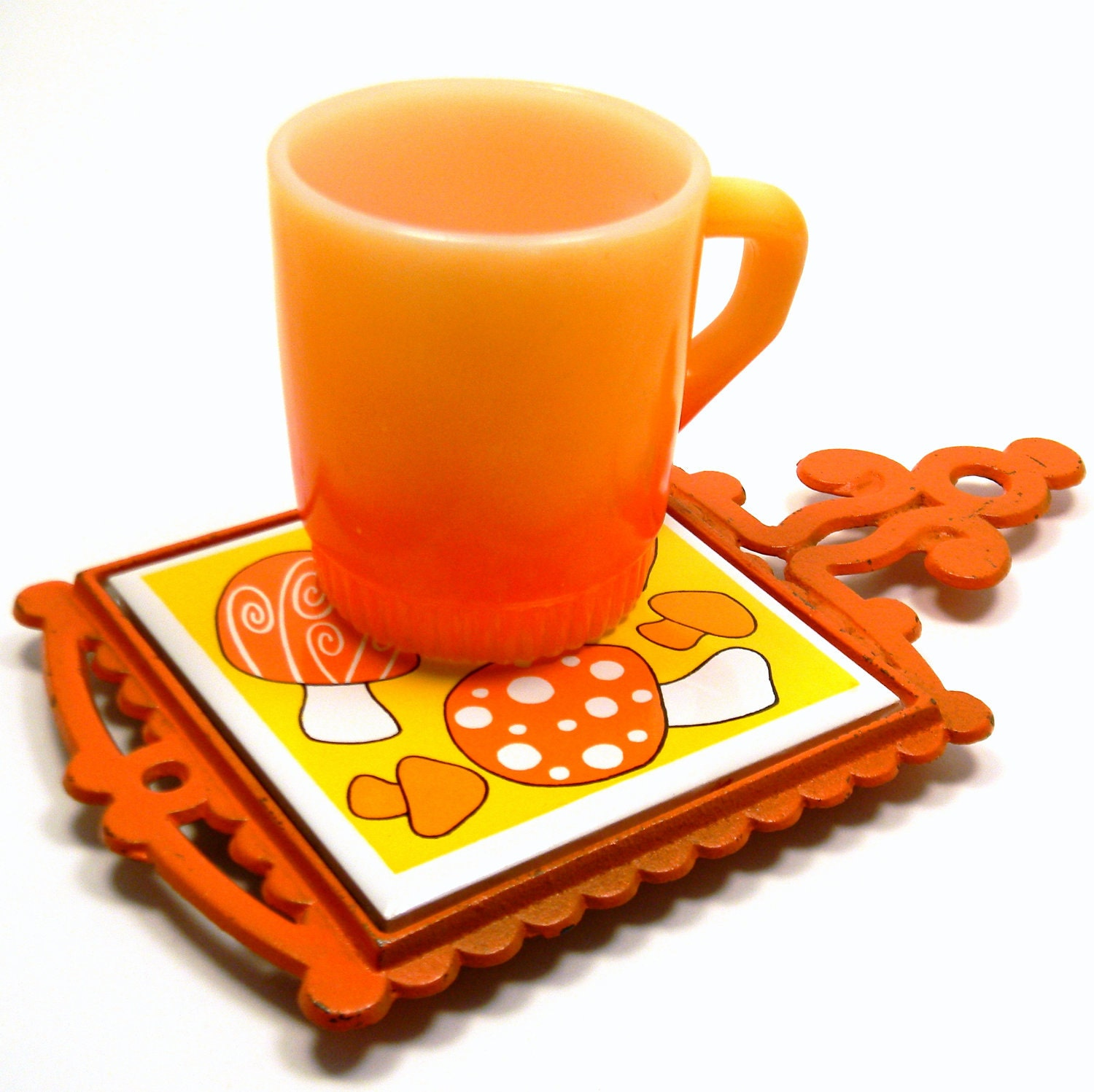 Retro Mushroom Trivet Vintage 1960s Cast Iron by BlissandVinegar