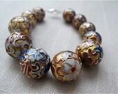 ON SALE Vintage 1990s Asian Flower Beads Bracelet