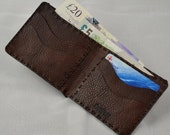 Mens, fully hand made and hand stitched leather billfold wallet