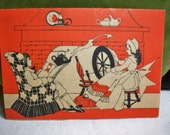 Vintage 1930's Thanksgiving Fall themed Bridge Tally Colonial Lady on spinning wheel and man unused parchment