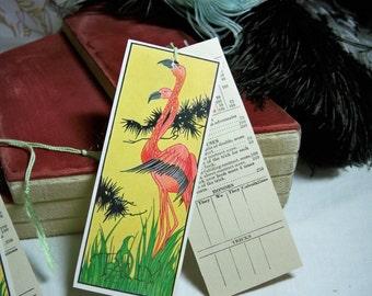 Vintage 1930's Art Deco Tropical  Pink Flamingo Bridge tally card
