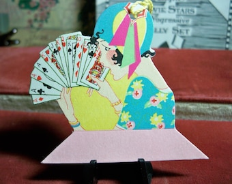 Art Deco colorful unused 1920's die cut  bridge tally Flapper wearing cloche hat  playing cards