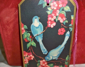 Art deco Bridge tally card with two blue birds at night in a cherry blossom tree 1920's-30's