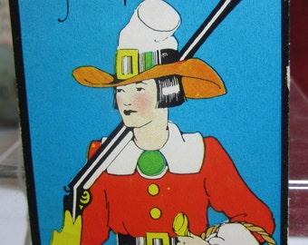 1930's art deco thanksgiving  pilgrim bridge tally card very colorful graphics