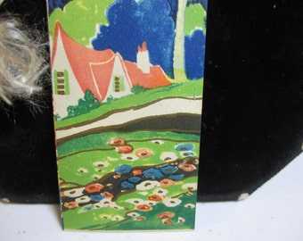 1920's-30's unused art deco bridge tally card colorful gold gilded scene of  country cottage in woods