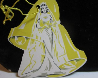 1940's unused die cut bridge tally card bride wearing gown and veil with wedding bells yellow background
