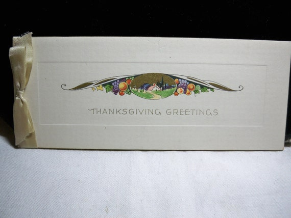Art deco  Thanksgiving greeting card cottage surrounded by fruit  with silk satin ribbon 1920's-30's