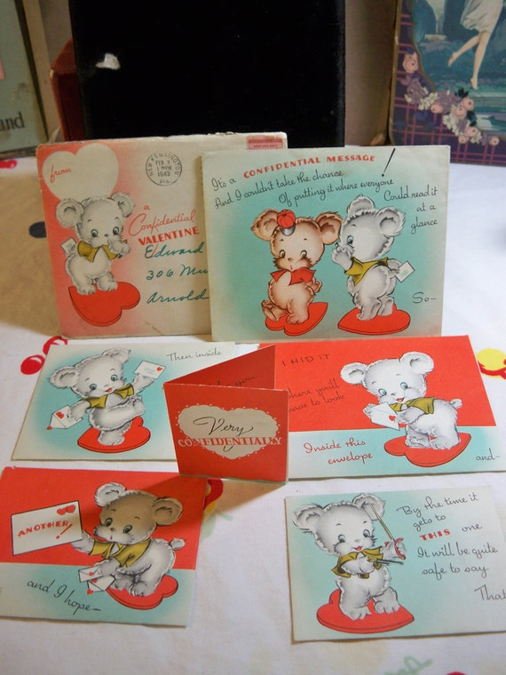 15% OFF STOREWIDE SALE 1940's Novelty Valentines day card envelope inside envelope with multiple greetings  with darling bears