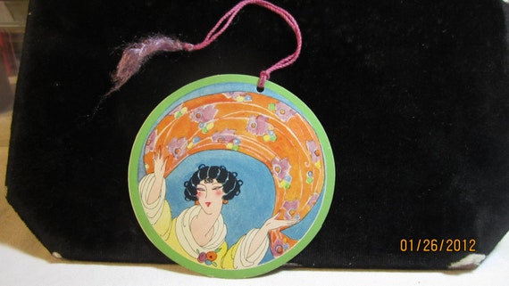 RESERVED please don't buy 1920's art deco  round bridge tally card raven haired flapper holding deco scarf