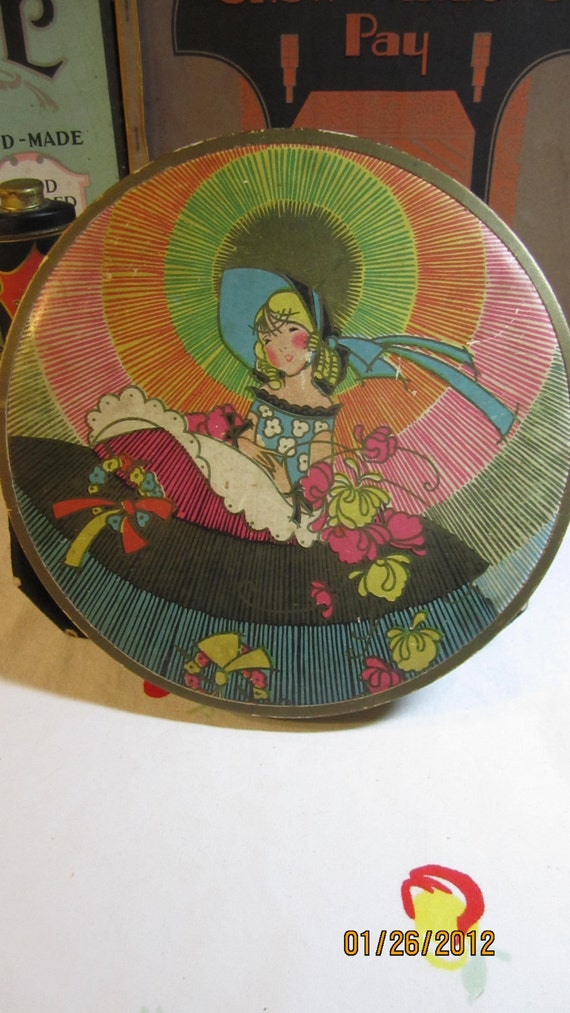 Colorful 1920's 30's  Round  Art Deco Candy box Girl in  bonnet and colorful crinoline dress and bonnet