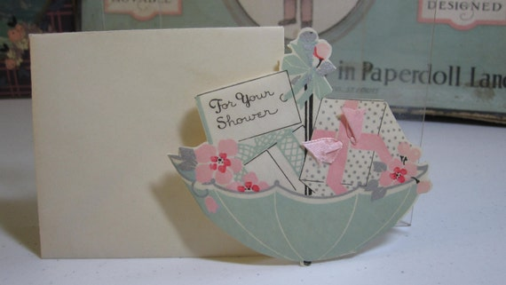 Adorable 1930's die cut umbrella shaped wedding shower card hand colored silver gilding and pink satin ribbon