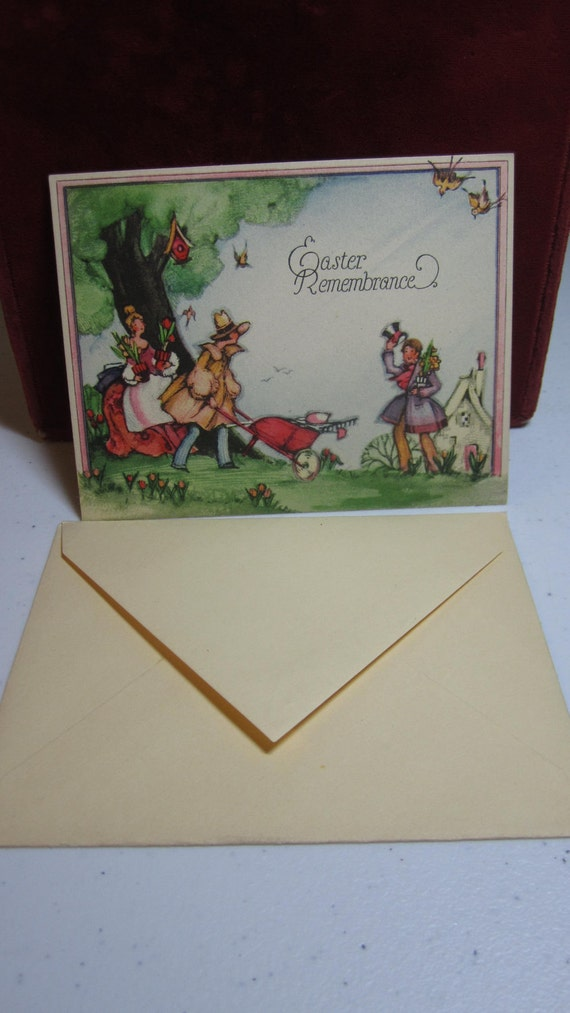 Vintage 1920's-30's P.F. Volland easter greeting card unused with envelope country scene people planting tulips