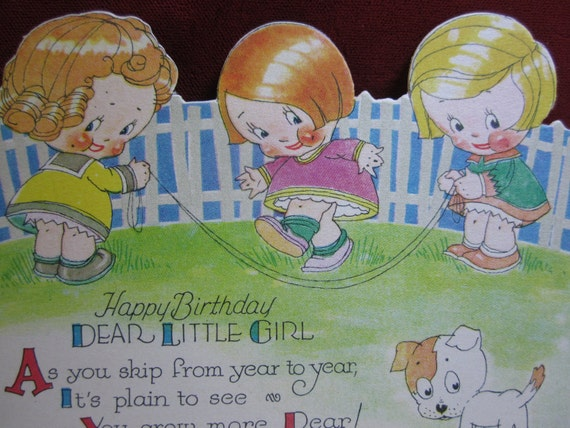 Art Deco die cut birthday card  for a girl adorable graphics of three little girls jump roping and a dog 1920's-30's