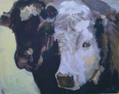 Cow couple, matted, giclee print, 16x20