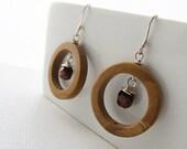 Brown Earrings, Wood Jasper Earrings, Wire Wrapped Tiger Eye Earrings