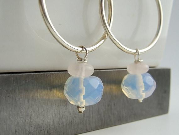 Rose Quartz Earrings, Quartz and Opalite Hoop Earrings