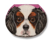 Needlepoint Dog Canvas - King Charles Spaniel Face Purse