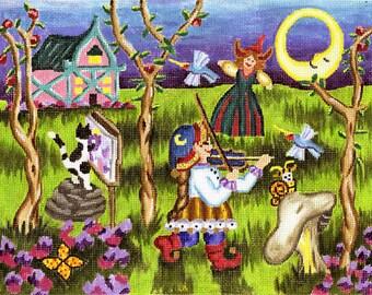 Needlepoint Fairy Tale Canvas - The Fiddler - SALE