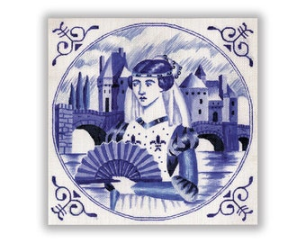 Needlepoint Canvas in Blue and White - Medieval Lady - SALE