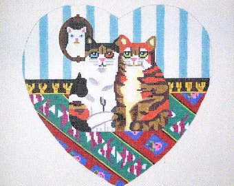 Needlepoint Cat Canvas - Sale - Two Kittens in a Heart