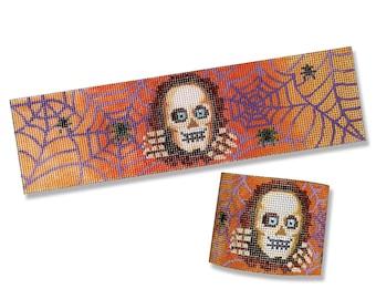 Needlepoint Canvas Halloween - Skull Cuff Bracelet