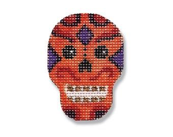Halloween Needlepoint - Orange Skull