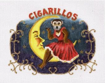 Needlepoint Monkey Canvas - Cigarillo Cigar Band - SALE
