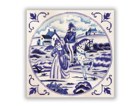 Needlepoint Canvas in Blue and White, Lord and Lady - SALE