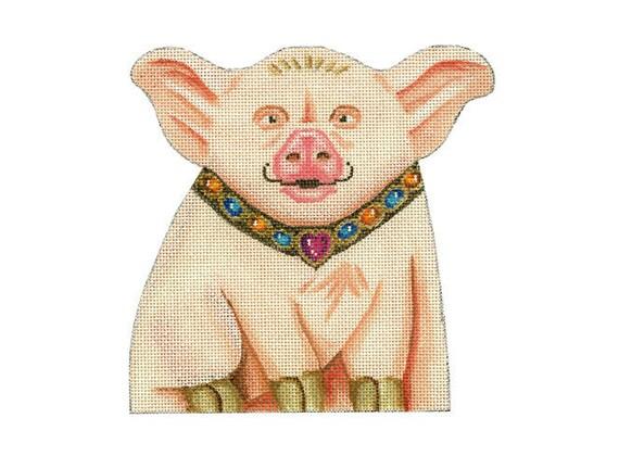 Needlepoint Pig Canvas - Piglet Beanbag