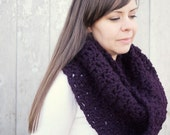 Chunky knit shoulder wrap, infinity scarf,  cowl, shawl, Brussels Mobius Wrap--eggplant