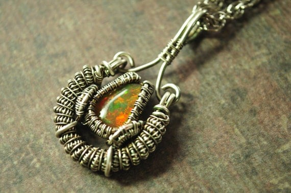 Wire Wrapped Fine Silver and Ethiopian Wello Opal Necklace
