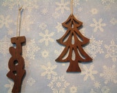 Christmas Ornaments Tree and JOY Black Walnut Fretwork Scrollsaw