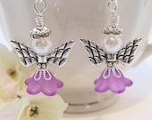 February Amethyst Birthday Guardian Angel Earrings with Crystals