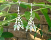 Earrings with Peridot and Clear Swarovski Crystals, Silver Accents, August Birthstone