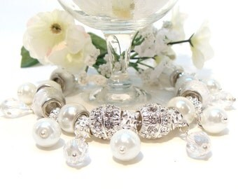 Pearls and Crystals Bridal Charm Bracelet with European Beads