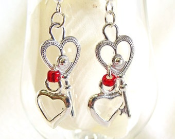 Earrings with Cute Key To My Heart Dangling Charms, Heart Earrings, Valentine's Day
