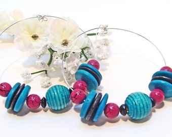 Fuchia and Turquoise Wooden Beaded Hoop Earrings for Spring
