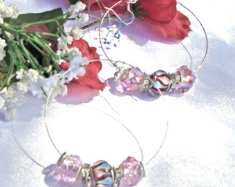 Brown, Pink & Blue Crystal Hoop Earrings with European Large Hole Beads