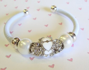 Gorgeous White Sweetheart Cuff Bracelet with Pearls and Crystals