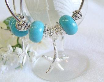 Aqua Hoop Earrings with Starfish Charms  ceramic beads, beachwear, SpringBreak, resortwear, spring, summer